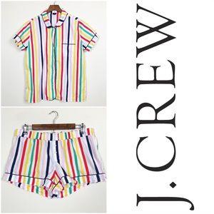 J. CREW PJ Set Colorful Striped Shirt and Shorts M